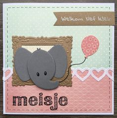 LindaCrea: Eline's Beestenboel #22 - Meisje Baby Cards, Kids Cards, Marianne Design Cards, Love Cards, Baby Design, I Card, Giraffe, Elephants, Projects To Try