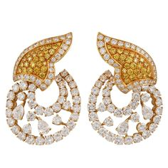 BOUCHERON - White & Yellow Diamond Earrings  (1stdibs.com)