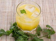Mango-Ginger Cocktail With Cilantro - Mango, Cilantro, Lemon Juice, Ginger Juice, Simple Syrup, Tequila.
