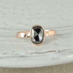 $900 Black Diamond Engagement Ring 14k Rose Gold by PointNoPointStudio