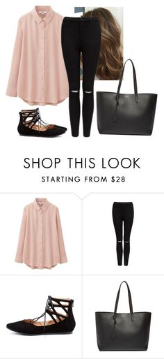 """""""👄👄"""" by hannahmcpherson12 ❤ liked on Polyvore featuring Uniqlo, Forever New, LULUS and Yves Saint Laurent"""