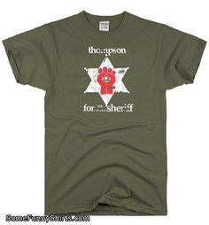 2ebe7dd41 DirtyRagz Men's Hunter S. Thompson Sheriff Gonzo T Shirt L Military Green  Man Hunter,
