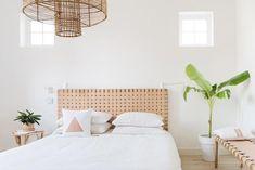 Headboard Tiles, Leather Headboard, Leather Bench, Living Room Decor, Bedroom Decor, Bali Bedroom, Hm Home, Bed Linen Design, Romantic Home Decor