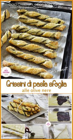 Breadsticks of puff pastry with olives, perfect rustic Antipasto, Pastry Recipes, Pizza Recipes, Tapas, Wedding Snacks, Christmas Party Food, Creative Food, Food Design, Healthy Cooking