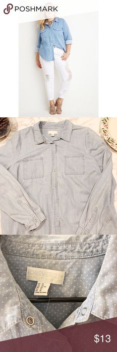 "Forever21 plus button down shirt Hello I'm selling this NWOT blue with white dots button down shirt in a size XL. Good condition. Measurements approx: Chest: 17.5"" and Length: 26"".  Any questions please let me know thank you. Forever 21 Tops Button Down Shirts"