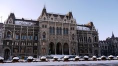 Front entrance to Parliament, Budapest, Hungary
