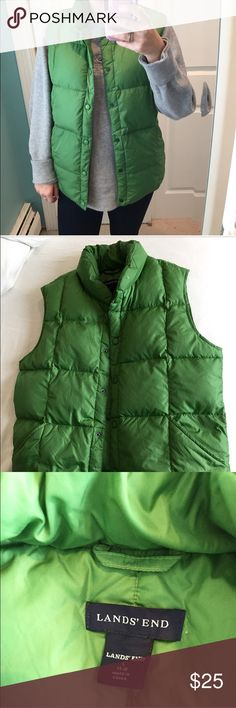 "Green Puffer Vest This puffer vest is a beautiful green ☘️ color & is from Lands End. It is very thick and warm!! Despite being a size L, this vest fits comfortably on me (5'4"" and 120 pounds) but has room for someone larger! 💓💓 Purchase 2 or more items to get 10% off your entire purchase!! 💓💓 Lands' End Jackets & Coats Vests"