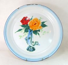 Art Deco Enamel Washbowl,Chinese Airbrushed Spritzdekor 'Bumper Harvest' Bowl…