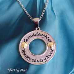 Is your granddaughter special to you? Of course she is! Tell her so with this extra special Granddaughter, you are so very loved in Sterling silver. She will feel so loved when she wears this. It's li