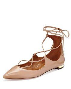 S1TQB Aquazzura Christy Lace-Up Leather Flat, Biscotto