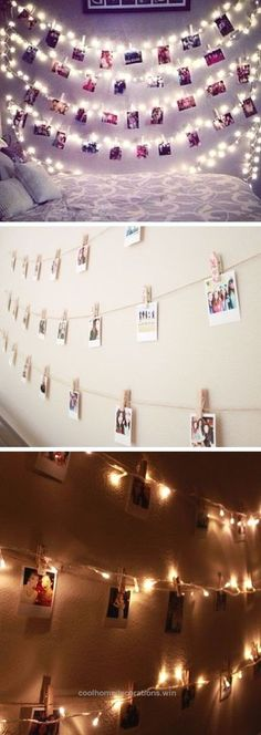 Adorable Polaroid Wall With String Lights | 24 DIY Teenage Girl Bedroom Decorating Ideas The post Polaroid Wall With String Lights | 24 DIY Teenage Girl Bedroom Decorating ..