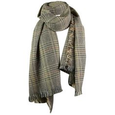 Feather Gray Vintage Plaid Pattern Artifical Wool Fringed Long Scarf (225 CZK) ❤ liked on Polyvore featuring accessories, scarves, gamiss, wool scarves, gray shawl, long scarves, vintage shawl and tartan plaid scarves