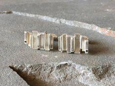 Sterling Silver Assymetrical Cufflinks with Black Diamond, White Diamond Cufflinks, Contemporary Cufflinks, Abstract Cufflinks, Cufflinks by SilverSculptor on Etsy