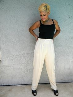 High Waisted Pants - Vintage 80s/90s Hip Hop/Hype/MC Hammer Style High Waist Silk Pants - Size 14 - Ivana Trump/Plus Size. $22.00, via Etsy.