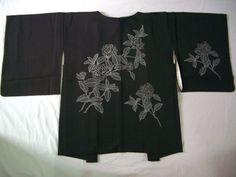 Japanese Vintage Kimono Haori Silk Black Hydrangea C042211   eBay