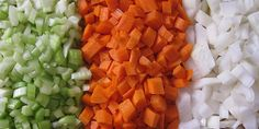 A mirepoix (pronounced meer-pwah) is a French term meaning a combination of chopped carrots, celery and onions used to add flavor and aroma to stocks, sauces, soups and other foods. These are considered your base aromatics. Add to this mixture one of my favorite herbs thyme, and you are good to go for any soup, stock or sauce base.