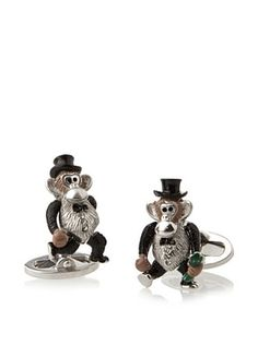 58% OFF Jan Leslie Monkey with Money Sterling Silver Cufflinks