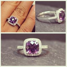 Cushion cut #amethyst #diamond #ring  #GiftsThatDelight #FredMeyerJewelers