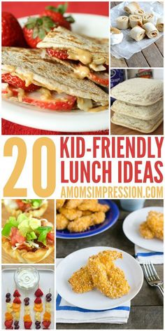 20 kid friendly lunches - a healthy recipe ideas for Back to School lunches. Easy list for mom to make lunches for the family. Salad, Snack and other great recipes