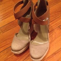 Brand new BCBGeneration Taupe canvas Wedges What's there to say, hot shoes! Gorgeous Taupe canvas backing and covering toe. Has back zipper closure, leather cross cross straps at ankles. Brand new! BCBGeneration Shoes Wedges