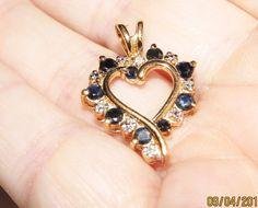 DIAMOND Accent >.27 TCW Sapphire Heart YG Ctd 925 Sterling Silver Pendant…