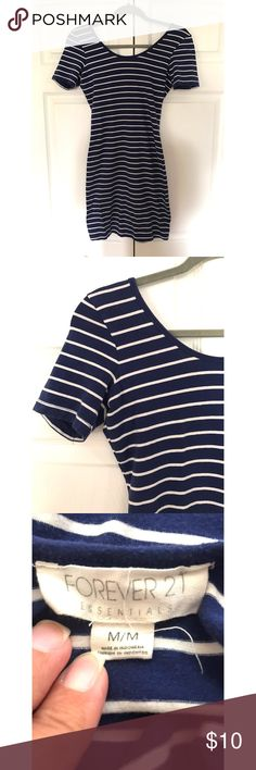Forever 21 striped dress. Forever 21, navy blue & white striped body con dress (can also be worn as a shirt). 1/3 length sleeve. Only worn a handful of times. IN GREAT CONDITION! Forever 21 Dresses Midi