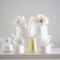 A selection of small white cakes decorated with hand piped details and beautiful sugar flowers. #weddingcakeselegant #luxuryweddingcake #prettycakes Luxury Wedding Cake, Wedding Cakes, White Cakes, Hand Pipes, Wedding Cake Designs, Sugar Flowers, Pretty Cakes, Cake Decorating, Miniatures