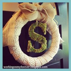 Burlap and Chevron Monogram Wreath