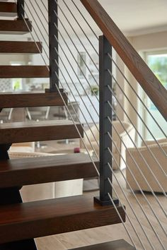 Modern Staircase Railing, Floating Staircase, Modern Stairs, Staircase Architecture, Rustic Stairs, Metal Stairs, Open Staircase, Home Stairs Design, Railing Design