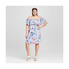 Women's Plus Size Floral Ruffled Dress Purple  -Le Kate ($40) ❤ liked on Polyvore featuring plus size women's fashion, plus size clothing, plus size dresses, plus size, purple, floral pattern dress, frill dress, purple floral dress, frilly dresses and flutter-sleeve dress