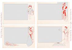 Wings of Whimsy: Set of 12 Romantic Notecards - Sheet No 1 of 3 #freebie #printable #vintage #ephemera #notecard# romantic
