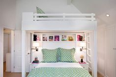 Karen White ID: Fabulous custom bunk bed with built-in nightstands and cubby style shelves. A pair of ...