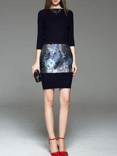 Paneled Knitting Midi dress