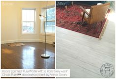 Floors painted with Chalk Paint™ decorative paint by Annie Sloan with Pure White, a wash of Paris Grey and finished with two coats of Annie Sloan water-based Lacquer | by Carte Blanche Upcycled Furniture www.cbupcycle.com