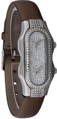 Ladies' stainless steel 35 x 25mm Philip Stein Diamond Mini Signature quartz watch with sapphire crystal, pavé diamond embellished bezel and dial, dual timezone, anti-stress Quantum Teslar Technology discs concealed at back of watch, sword hands, dual push/pull crowns, water resistant up to 3 ATM, bronze satin strap and tang buckle closure. Includes additional red alligator strap.