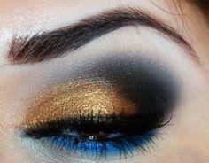 Gold, black and blue make up