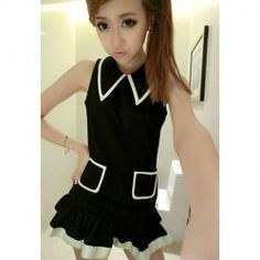 9dc0b7b041ed  9.16 Preppy Style Pleated Sleeveless Turndown Collar Twinset For Women