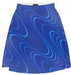 Blue Waves Skirt by patricia-l-ballard