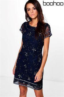 Blue Boohoo Embellished Cap Sleeve Shift Dress  (L58186) | £40