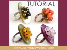Button Jewelry Tutorial, Button Ring Tutorial, Cocktail Ring Tutorial, Buttons Jewellery, Colorful Ring, Blooming Button Ring Tutorial