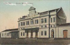"""Museu Ferroviário Virtual - Antigo postal, de cerca de 1910, da estação ferroviária de Curitiba/PR, integrante da então """"Estrada de Ferro do Paraná"""" (depois EFSPRG e RVPSC)."""