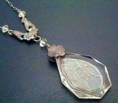 Vintage Necklace ART NOUVEAU Art Glass by BrightgemsTreasures.