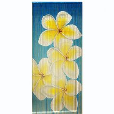 Blue Multi Frangipani is a 90x200cm beaded door curtain featuring a gorgeous spray of yellow tinged white frangipani blossoms on a graduated blue background.