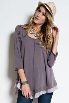 Tiny Ruffle Top  3/4 Sleeve Tiny Ruffle Layered Tunic with Stitched Detail