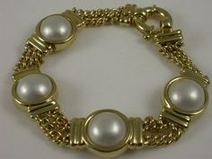 Mabe Pearl ( Cult. Pearls) bracelet   9ct. yellow #gold with chain and #bezel set 4x Mabe #pearls and Boltring  $2950