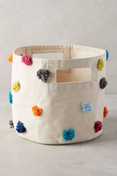 Anthropologie Rainbow Tufts Basket ***diy basket, stiff fabric and glue gun? Easy Like Sunday Morning, Anthropologie Home, Over The Rainbow, Playroom, Diy And Crafts, Sewing Projects, Crafty, Decoration, Creative
