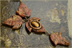Autumn leaves dryad necklace with Tigereye on etsy by Vocisconnesse