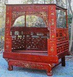 Red and Gold Wooden Chinese Marriage Wedding Bedhttp://www.heirloom-estate.com