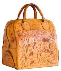 Gorgeous Vintage Tooled Leather Bag!-Awesome!