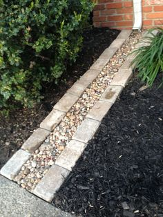 Down spout rock drain. Add plastic under the rocks so you dont saturate the ground near your foundation. Rock Pathway, Composite Decking, Raised Garden Beds, Garden Gazebo, Door Design, Container Gardening, Front Yard Landscaping, Beautiful Gardens, Outdoor Decor